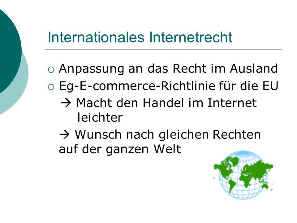 Internationales Internetrecht Anpassung an das Recht im Ausland Eg-E-commerce-Richtlinie für die EU Macht den Handel im Internet leichter Wunsch nach gleichen Rechten auf der ganzen Welt