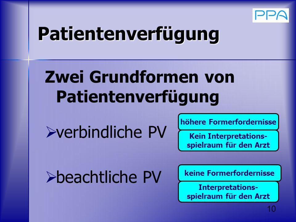 10 Patientenverfügung Zwei Grundformen von Patientenverfügung verbindliche PV beachtliche PV höhere Formerfordernisse Kein Interpretations- spielraum