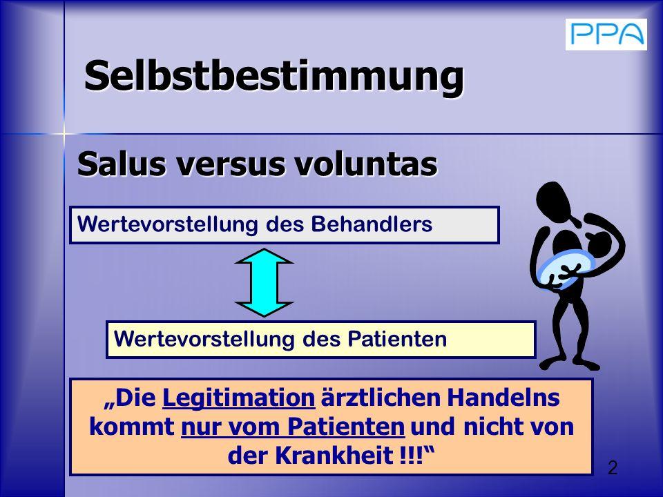 2 Selbstbestimmung Salus versus voluntas Wertevorstellung des Behandlers Die Legitimation ärztlichen Handelns kommt nur vom Patienten und nicht von de