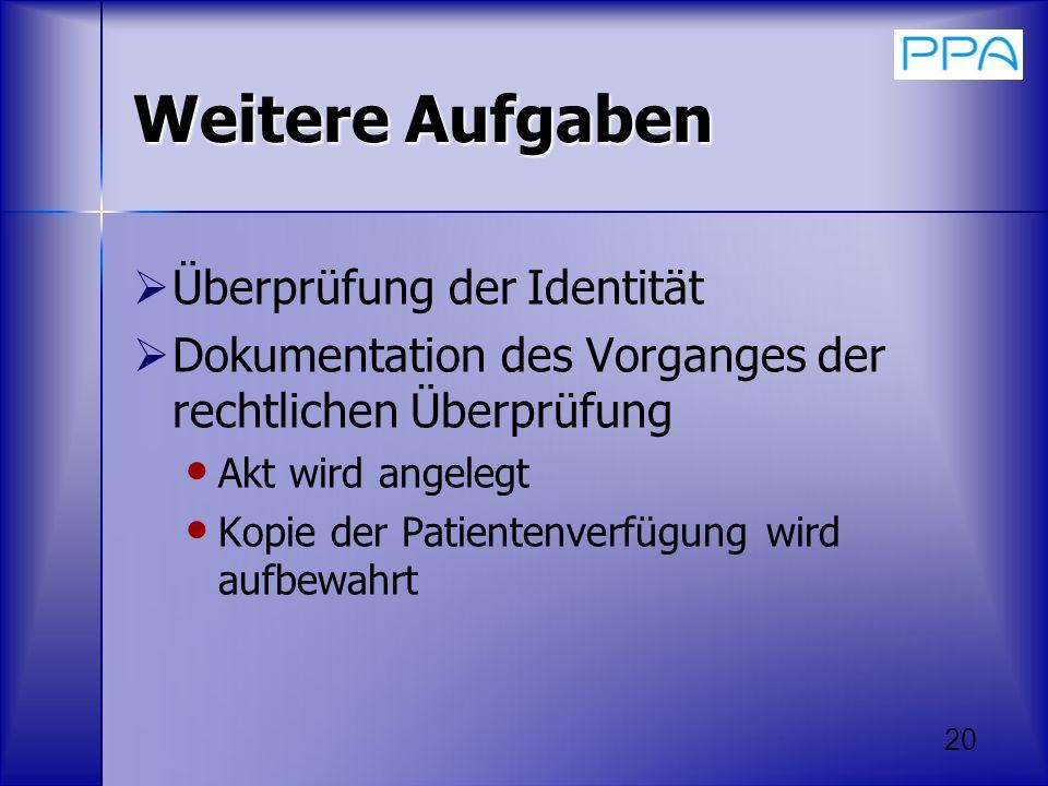 20 Weitere Aufgaben Überprüfung der Identität Dokumentation des Vorganges der rechtlichen Überprüfung Akt wird angelegt Kopie der Patientenverfügung w