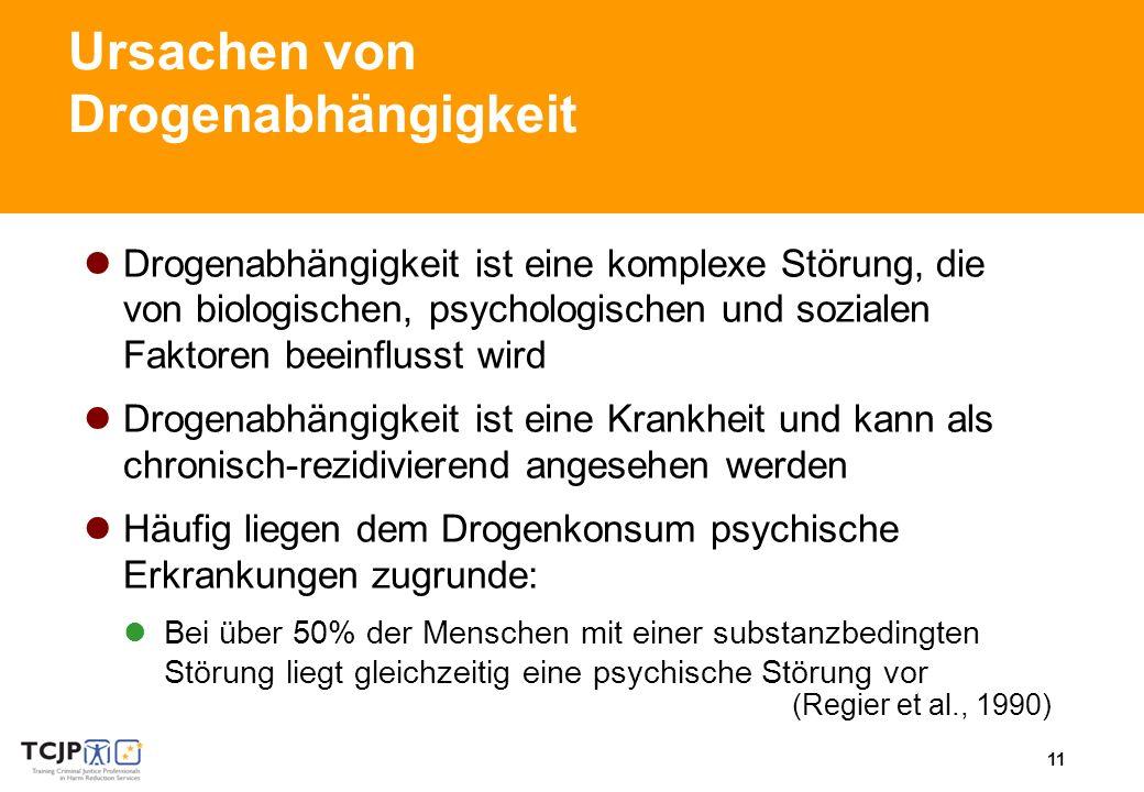 11 Ursachen von Drogenabhängigkeit Drogenabhängigkeit ist eine komplexe Störung, die von biologischen, psychologischen und sozialen Faktoren beeinflusst wird Drogenabhängigkeit ist eine Krankheit und kann als chronisch-rezidivierend angesehen werden Häufig liegen dem Drogenkonsum psychische Erkrankungen zugrunde: Bei über 50% der Menschen mit einer substanzbedingten Störung liegt gleichzeitig eine psychische Störung vor (Regier et al., 1990)