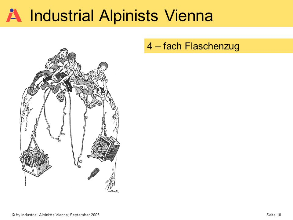 © by Industrial Alpinists Vienna; September 2005 Seite 10 Industrial Alpinists Vienna 4 – fach Flaschenzug