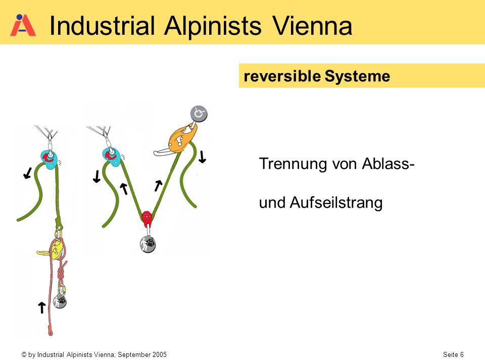 © by Industrial Alpinists Vienna; September 2005 Seite 6 Industrial Alpinists Vienna reversible Systeme Trennung von Ablass- und Aufseilstrang