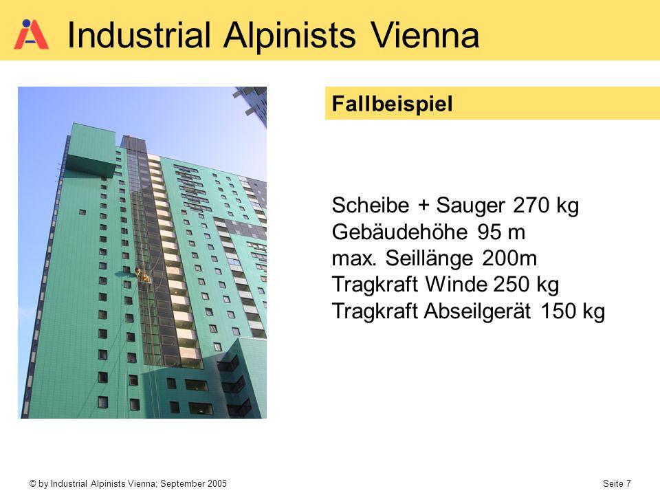 © by Industrial Alpinists Vienna; September 2005 Seite 7 Industrial Alpinists Vienna Fallbeispiel Scheibe + Sauger 270 kg Gebäudehöhe 95 m max.