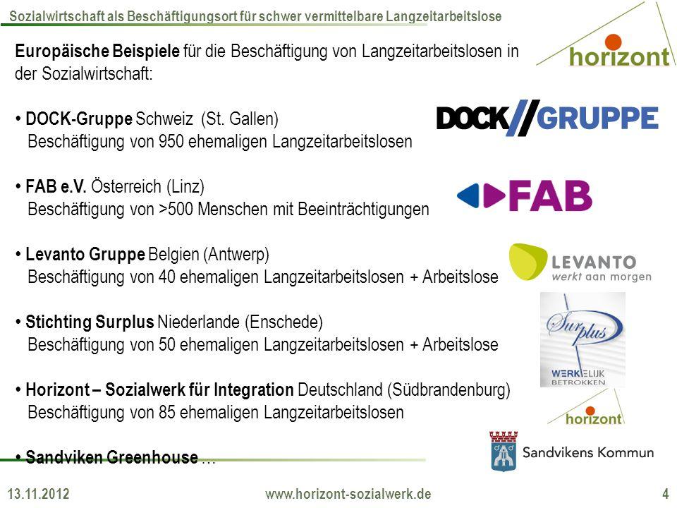 13.11.2012 www.horizont-sozialwerk.de 4 Sozialwirtschaft als Beschäftigungsort für schwer vermittelbare Langzeitarbeitslose Europäische Beispiele für die Beschäftigung von Langzeitarbeitslosen in der Sozialwirtschaft: DOCK-Gruppe Schweiz (St.