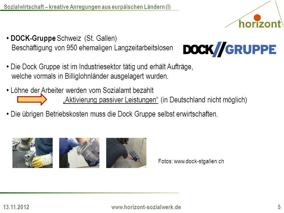 13.11.2012 www.horizont-sozialwerk.de 5 Sozialwirtschaft – kreative Anregungen aus eurpäischen Ländern (I) DOCK-Gruppe Schweiz (St.