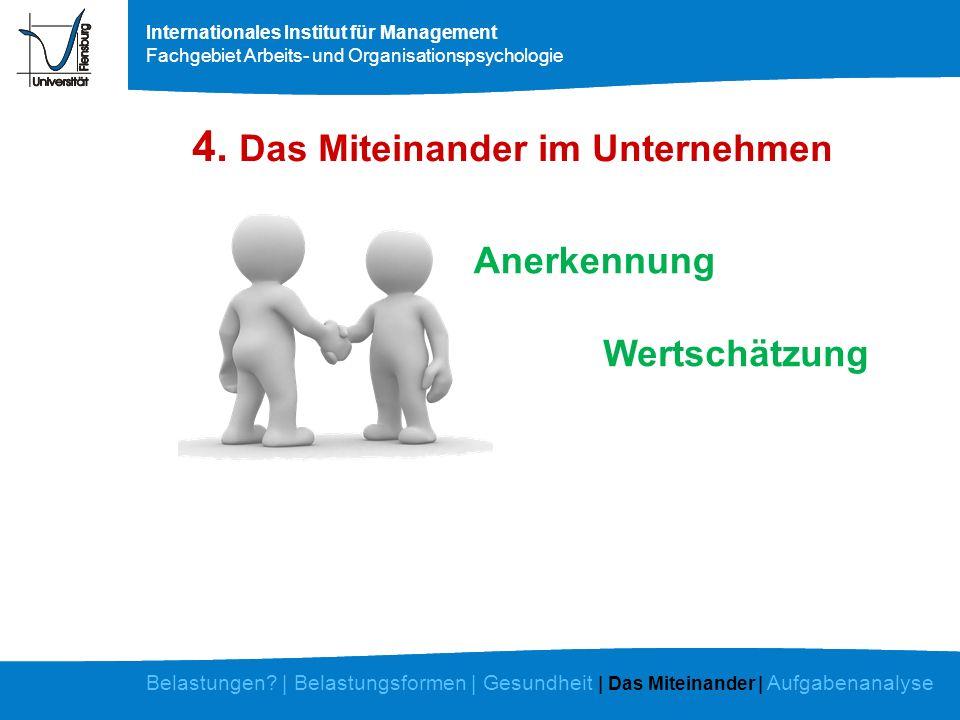 Internationales Institut für Management Fachgebiet Arbeits- und Organisationspsychologie 4. Das Miteinander im Unternehmen Anerkennung Wertschätzung B