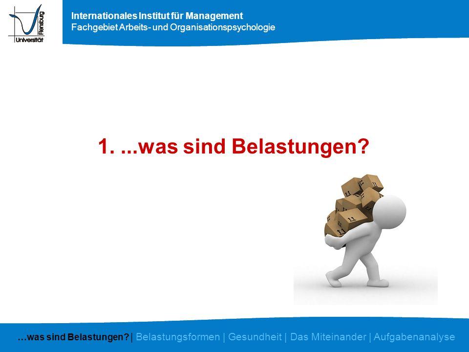 Internationales Institut für Management Fachgebiet Arbeits- und Organisationspsychologie Der eigene Arbeitsplatz Erschwerungen Sind alle Informationen, die Sie für die Erledigung der Aufgabe benötigen rechtzeitig und vollständig vorhanden.