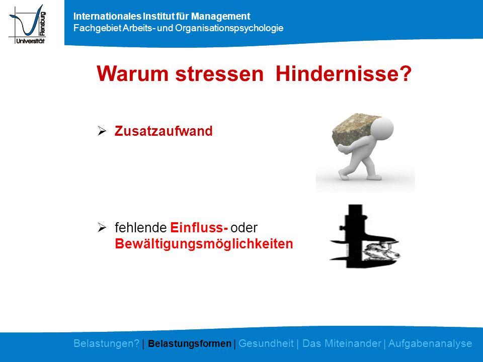 Internationales Institut für Management Fachgebiet Arbeits- und Organisationspsychologie Warum stressen Hindernisse? Zusatzaufwand fehlende Einfluss-