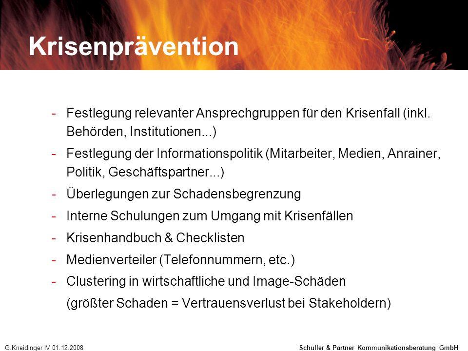 Krisenprävention -Festlegung relevanter Ansprechgruppen für den Krisenfall (inkl. Behörden, Institutionen...) -Festlegung der Informationspolitik (Mit