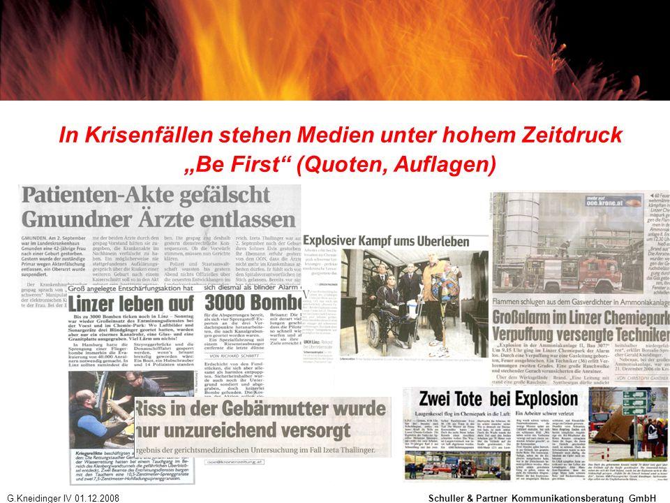 In Krisenfällen stehen Medien unter hohem Zeitdruck Be First (Quoten, Auflagen) G.Kneidinger IV 01.12.2008 Schuller & Partner Kommunikationsberatung G
