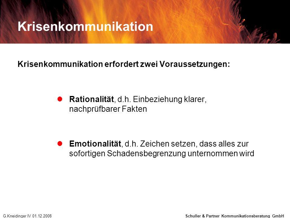 Krisenkommunikation Krisenkommunikation erfordert zwei Voraussetzungen: Rationalität, d.h. Einbeziehung klarer, nachprüfbarer Fakten Emotionalität, d.