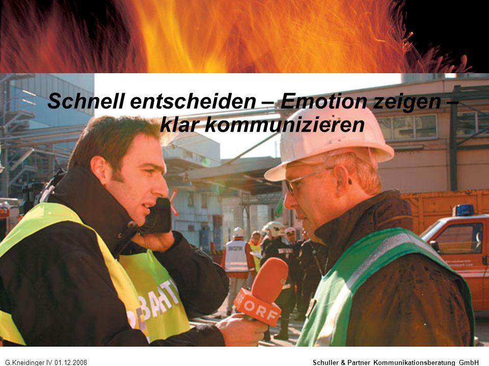 Schnell entscheiden – Emotion zeigen – klar kommunizieren G.Kneidinger IV 01.12.2008 Schuller & Partner Kommunikationsberatung GmbH