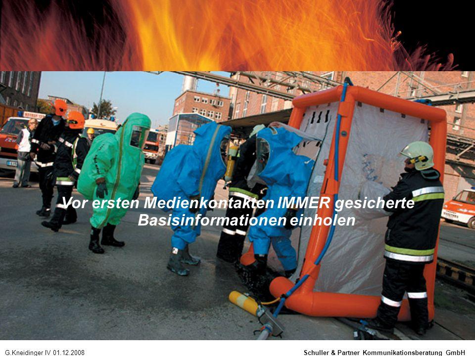 Vor ersten Medienkontakten IMMER gesicherte Basisinformationen einholen G.Kneidinger IV 01.12.2008 Schuller & Partner Kommunikationsberatung GmbH