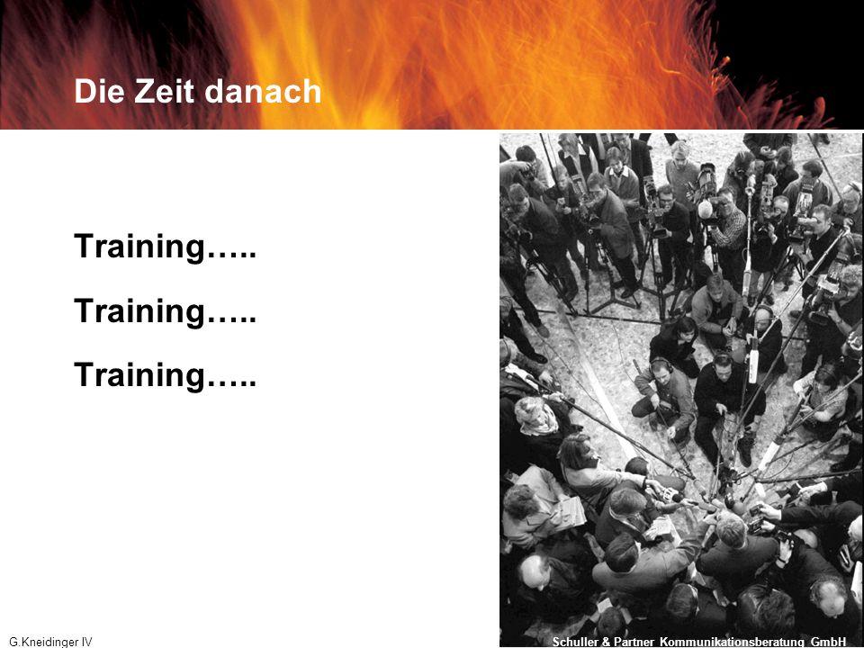 Die Zeit danach Training….. G.Kneidinger IV 01.12.2008 Schuller & Partner Kommunikationsberatung GmbH