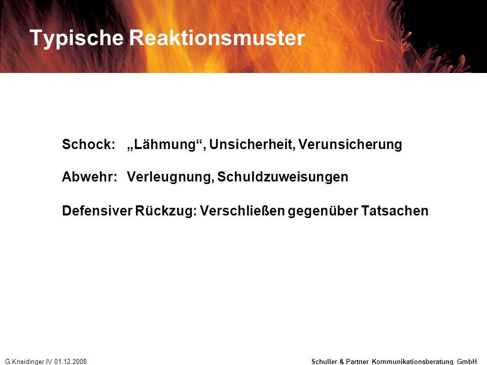 Kommunikation mit den Medien 1.Am Anfang NIE den CEO sprechen lassen 2.Nie mehr als den aktuellen Wissenstand kommunizieren 3.Wenn Krise länger andauert: auch Experten zu Wort kommen lassen 4.Sobald Klarheit und Übersicht herrscht: CEO an die Front (Betroffenheit äußern, Ergebnisse, weitere Vorgangsweise...) G.Kneidinger IV 01.12.2008 Schuller & Partner Kommunikationsberatung GmbH
