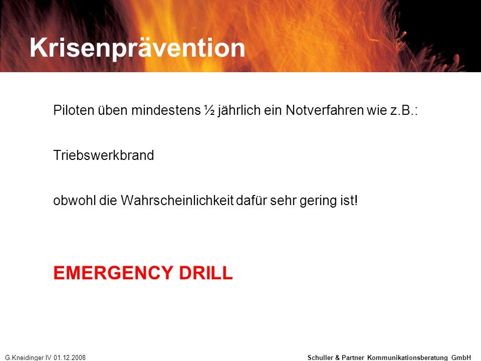 Krisenprävention Piloten üben mindestens ½ jährlich ein Notverfahren wie z.B.: Triebswerkbrand obwohl die Wahrscheinlichkeit dafür sehr gering ist! EM