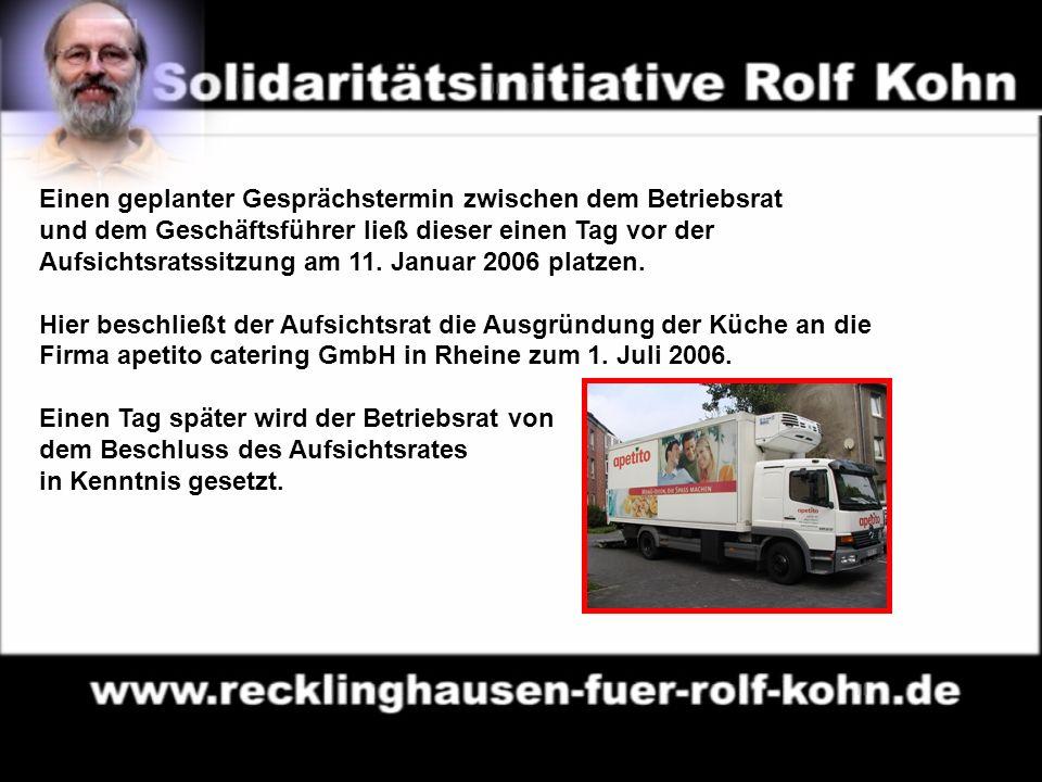 3 Von links: Georg Möllers (Beigeordneter RE Dezernat II ), Ulrich Lammers (nebenamtlicher Geschäftsführer), Karl-Heinz Hufnagel (Heimleiter) und Johannes Beckmann (Aufsichtsratsvorsitzender) informieren die Presse, ohne dass zuvor die Belegschaft von der Entscheidung und ihren Folgen unterrichtet worden ist.
