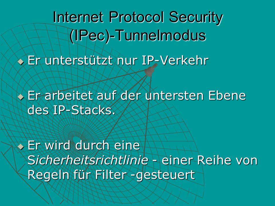 Internet Protocol Security (IPec)-Tunnelmodus Er unterstützt nur IP-Verkehr Er unterstützt nur IP-Verkehr Er arbeitet auf der untersten Ebene des IP-Stacks.