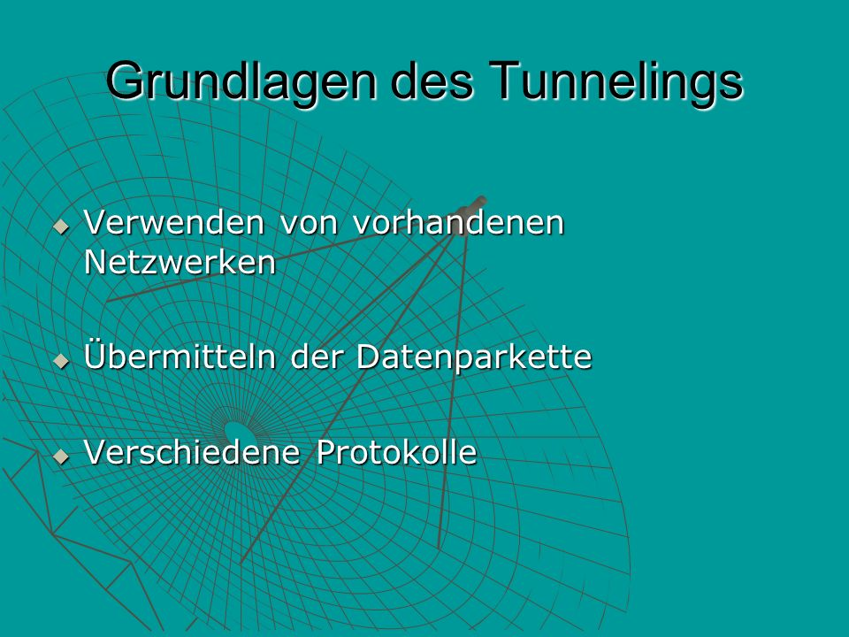 Tunneltypen Freiwilliger Tunnel Freiwilliger Tunnel Erzwungene Tunnel Erzwungene Tunnel
