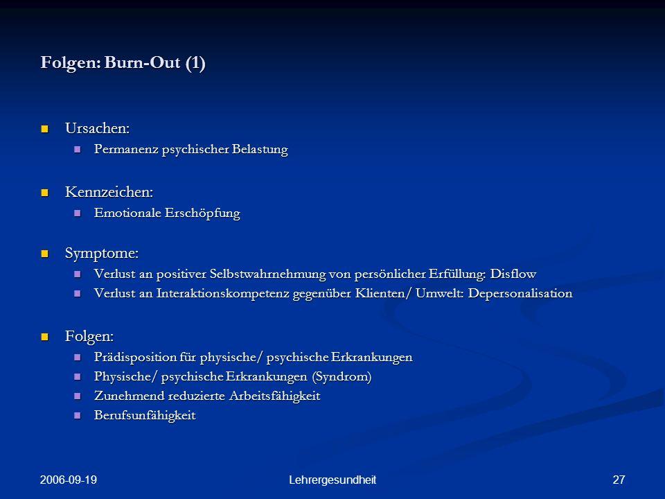 2006-09-19 26Lehrergesundheit Folgen: Psychischer Distress (4) Selbsteinschätzung des Gesundheitszu- stands durch BBS- Lehrer/-innen mit psychischem Distress (GHQ-12 Schwellen-wert 3) im Ver-gleich zu Werten aus der Bundesrepublik und Dänemark