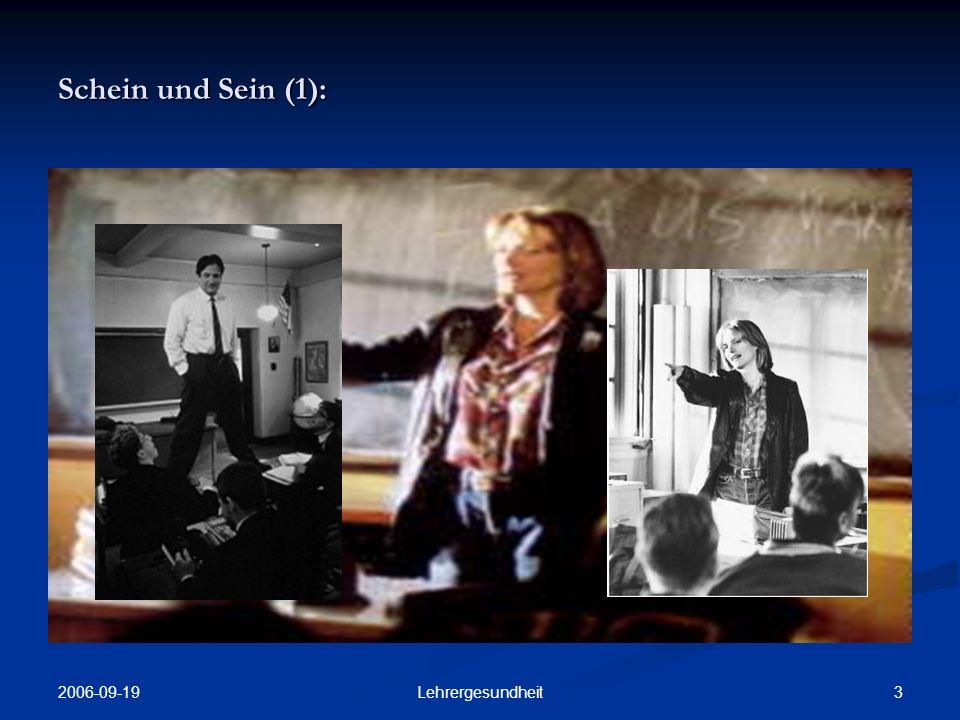 2006-09-19 2Lehrergesundheit Gesunde Menschen sind die, in deren Leibes- und Geistesorganisation jeder Teil ein vita propria hat jeder Teil ein vita propria hat (Goethe, Maximen und Reflexionen)
