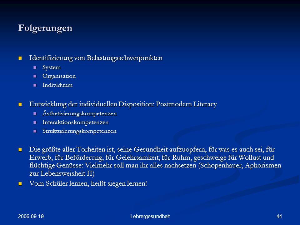 2006-09-19 43Lehrergesundheit Ursachen: Belastungen (7) Intrinsische Motivation der Berufswahl unter den BBS- Lehrer/-innen