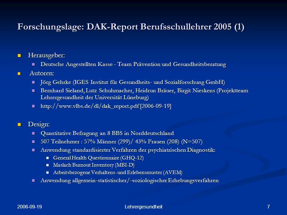 2006-09-19 6Lehrergesundheit Forschungslage (2) Ministerielle Programme zur Erforschung und Bewältigung Ministerielle Programme zur Erforschung und Bewältigung Hessisches Kultusministerium: Schule & Gesundheit.