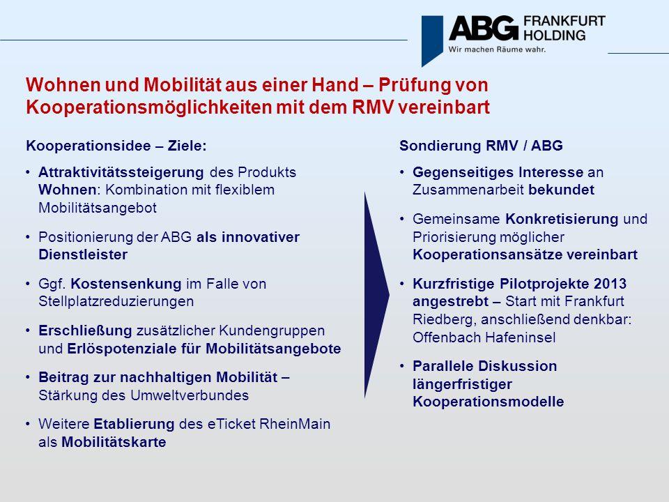 Wohnen und Mobilität aus einer Hand – Prüfung von Kooperationsmöglichkeiten mit dem RMV vereinbart Kooperationsidee – Ziele: Attraktivitätssteigerung des Produkts Wohnen: Kombination mit flexiblem Mobilitätsangebot Positionierung der ABG als innovativer Dienstleister Ggf.