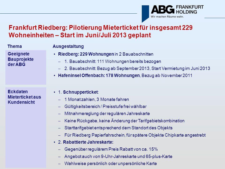 Frankfurt Riedberg: Pilotierung Mieterticket für insgesamt 229 Wohneinheiten – Start im Juni/Juli 2013 geplant Riedberg: 229 Wohnungen in 2 Bauabschnitten 1.