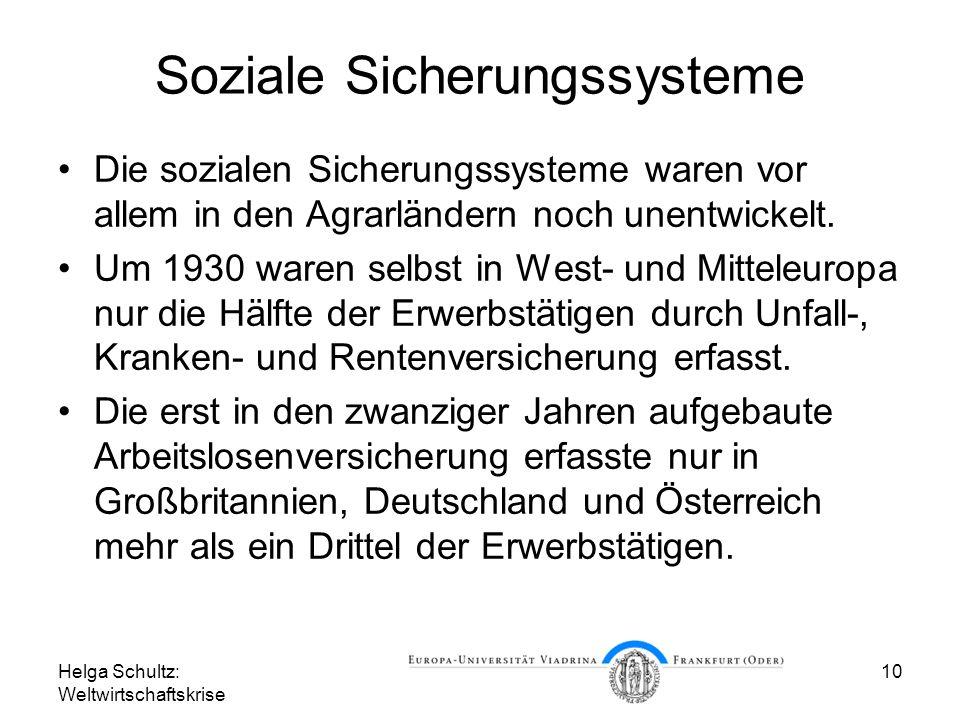 Helga Schultz: Weltwirtschaftskrise 10 Soziale Sicherungssysteme Die sozialen Sicherungssysteme waren vor allem in den Agrarländern noch unentwickelt.