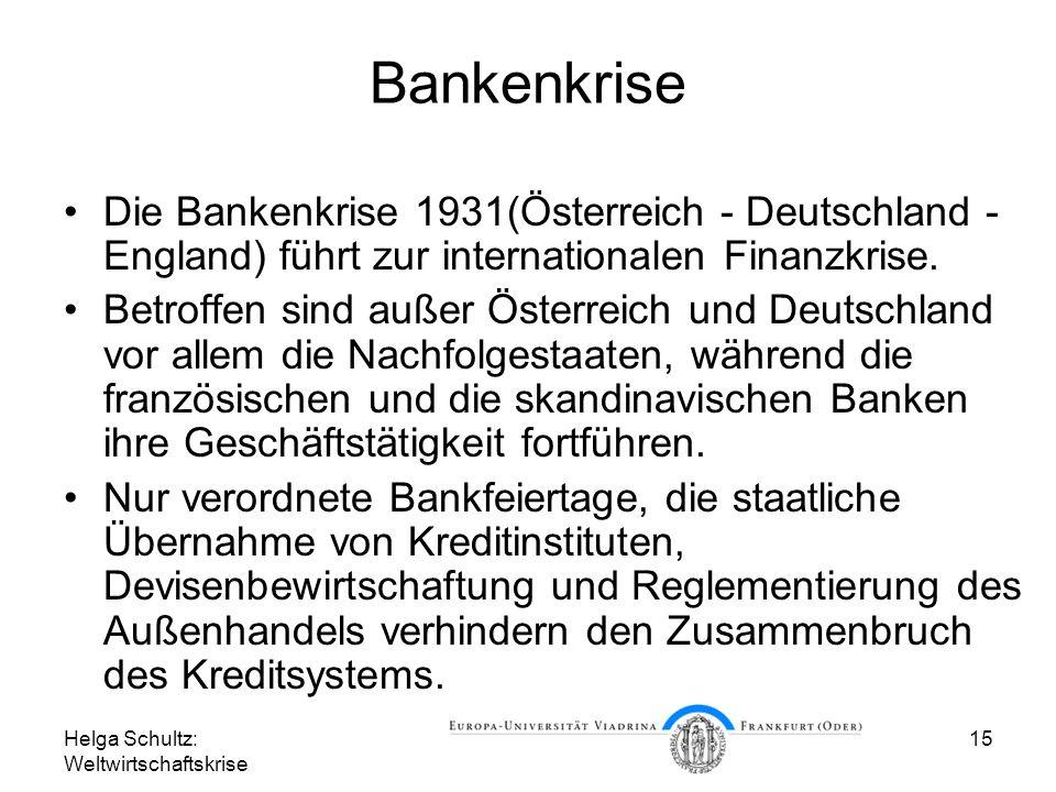 Helga Schultz: Weltwirtschaftskrise 15 Bankenkrise Die Bankenkrise 1931(Österreich - Deutschland - England) führt zur internationalen Finanzkrise. Bet