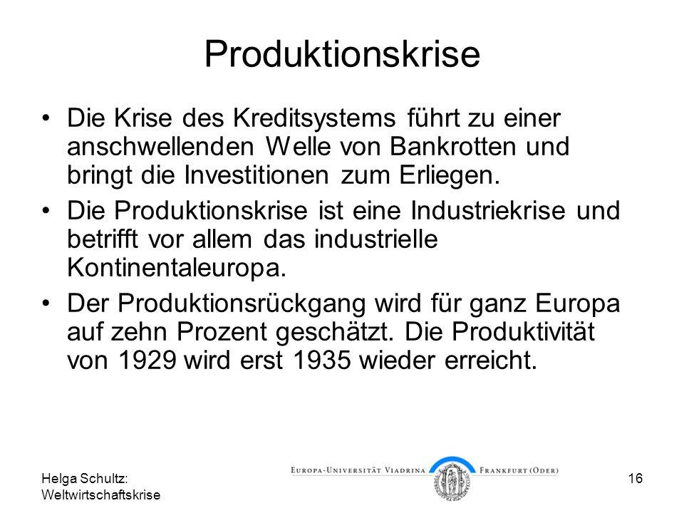 Helga Schultz: Weltwirtschaftskrise 16 Produktionskrise Die Krise des Kreditsystems führt zu einer anschwellenden Welle von Bankrotten und bringt die