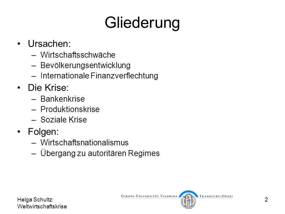 Helga Schultz: Weltwirtschaftskrise 2 Gliederung Ursachen: –Wirtschaftsschwäche –Bevölkerungsentwicklung –Internationale Finanzverflechtung Die Krise: