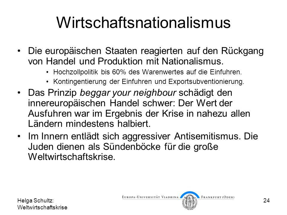 Helga Schultz: Weltwirtschaftskrise 24 Wirtschaftsnationalismus Die europäischen Staaten reagierten auf den Rückgang von Handel und Produktion mit Nat