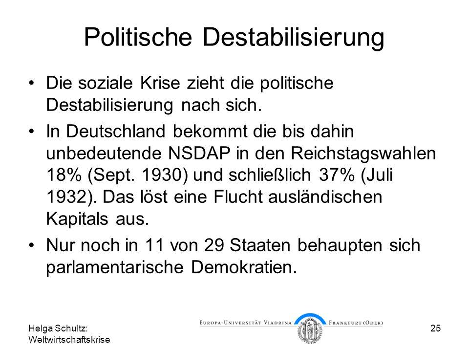 Helga Schultz: Weltwirtschaftskrise 25 Politische Destabilisierung Die soziale Krise zieht die politische Destabilisierung nach sich. In Deutschland b