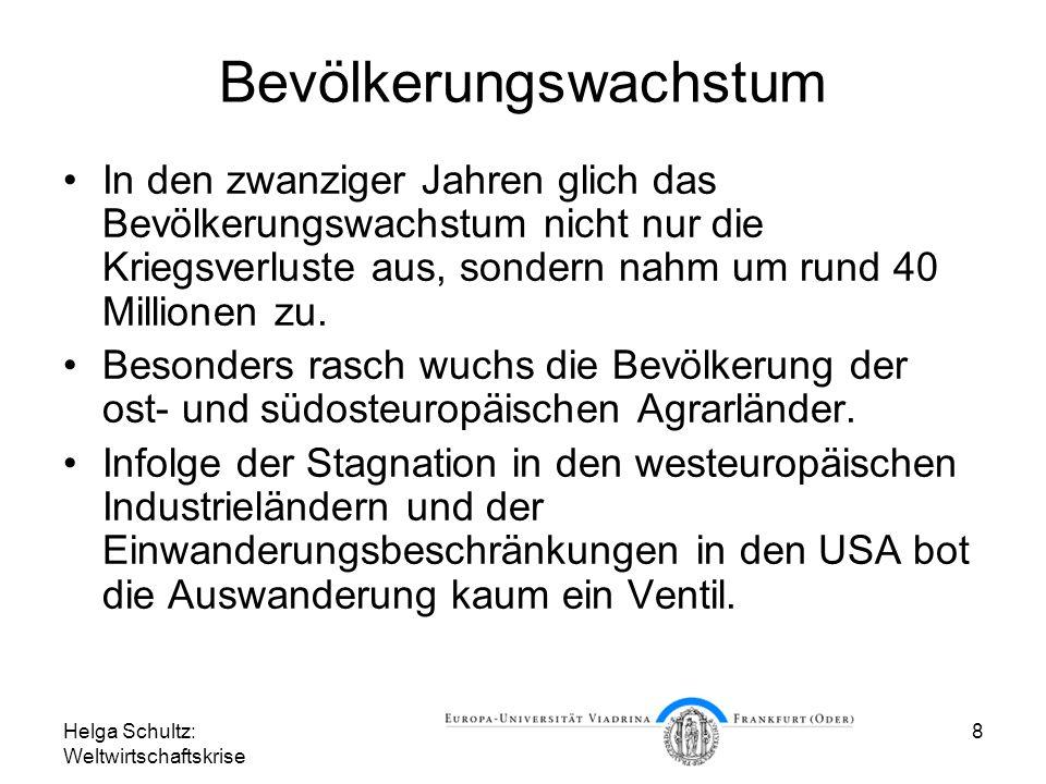 Helga Schultz: Weltwirtschaftskrise 8 Bevölkerungswachstum In den zwanziger Jahren glich das Bevölkerungswachstum nicht nur die Kriegsverluste aus, so