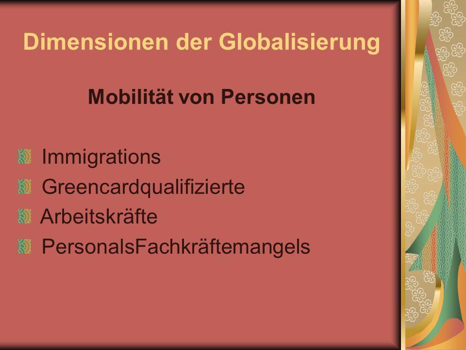 Dimensionen der Globalisierung Mobilität von Personen Immigrations Greencardqualifizierte Arbeitskräfte PersonalsFachkräftemangels