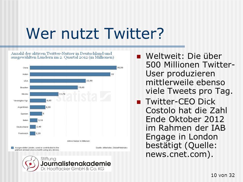 10 von 32 Wer nutzt Twitter? Weltweit: Die über 500 Millionen Twitter- User produzieren mittlerweile ebenso viele Tweets pro Tag. Twitter-CEO Dick Cos