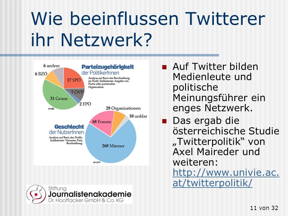 11 von 32 Wie beeinflussen Twitterer ihr Netzwerk? Auf Twitter bilden Medienleute und politische Meinungsführer ein enges Netzwerk. Das ergab die öste