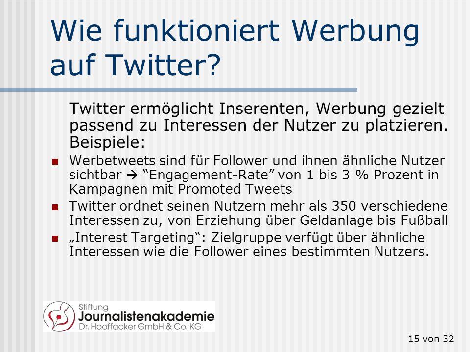 15 von 32 Wie funktioniert Werbung auf Twitter? Twitter ermöglicht Inserenten, Werbung gezielt passend zu Interessen der Nutzer zu platzieren. Beispie