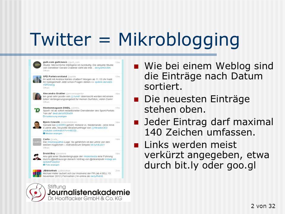 2 von 32 Twitter = Mikroblogging Wie bei einem Weblog sind die Einträge nach Datum sortiert. Die neuesten Einträge stehen oben. Jeder Eintrag darf max