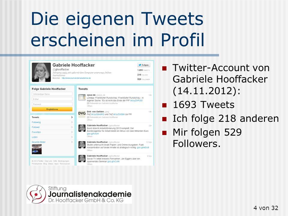 4 von 32 Die eigenen Tweets erscheinen im Profil Twitter-Account von Gabriele Hooffacker (14.11.2012): 1693 Tweets Ich folge 218 anderen Mir folgen 52