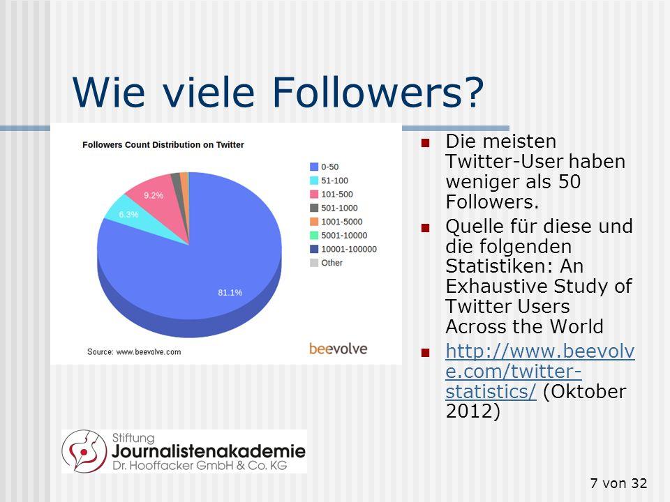 7 von 32 Wie viele Followers? Die meisten Twitter-User haben weniger als 50 Followers. Quelle für diese und die folgenden Statistiken: An Exhaustive S