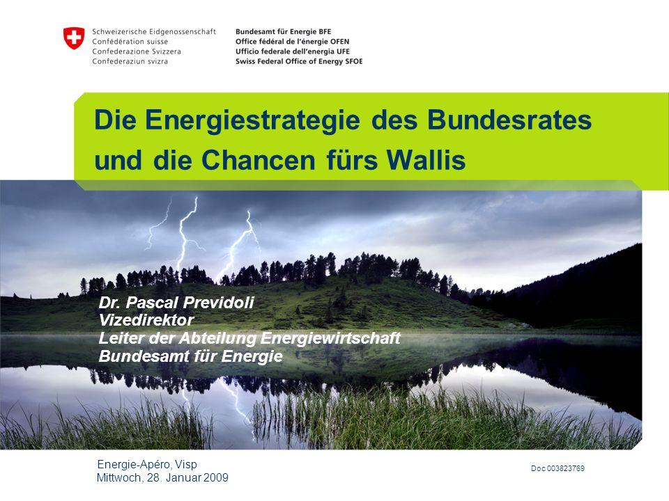 Doc 003823769 Dr. Pascal Previdoli Vizedirektor Leiter der Abteilung Energiewirtschaft Bundesamt für Energie Die Energiestrategie des Bundesrates und