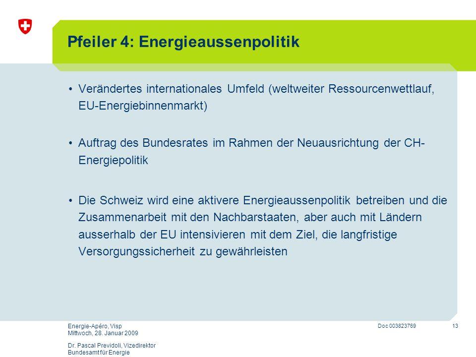 13 Doc 003823769 Energie-Apéro, Visp Mittwoch, 28. Januar 2009 Dr. Pascal Previdoli, Vizedirektor Bundesamt für Energie Pfeiler 4: Energieaussenpoliti