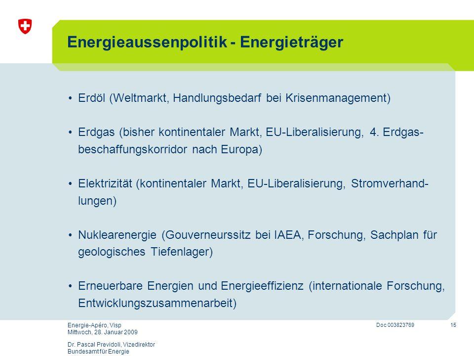15 Doc 003823769 Energie-Apéro, Visp Mittwoch, 28. Januar 2009 Dr. Pascal Previdoli, Vizedirektor Bundesamt für Energie Energieaussenpolitik - Energie
