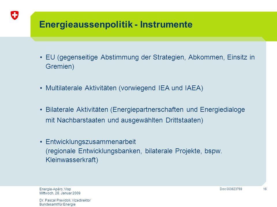 16 Doc 003823769 Energie-Apéro, Visp Mittwoch, 28. Januar 2009 Dr. Pascal Previdoli, Vizedirektor Bundesamt für Energie Energieaussenpolitik - Instrum