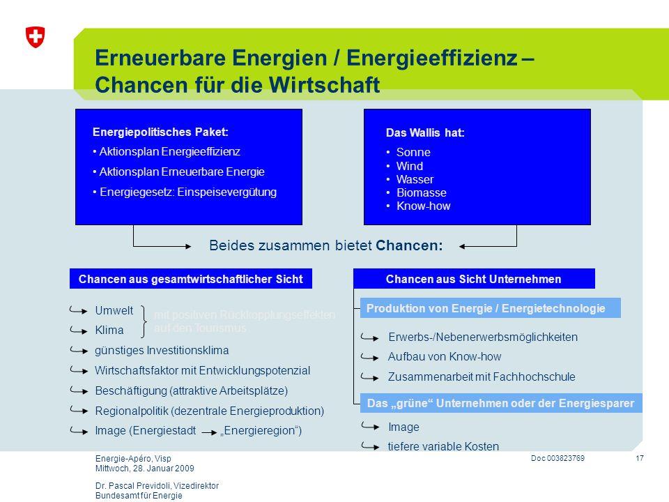 17 Doc 003823769 Energie-Apéro, Visp Mittwoch, 28. Januar 2009 Dr. Pascal Previdoli, Vizedirektor Bundesamt für Energie Erneuerbare Energien / Energie
