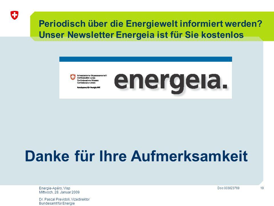19 Doc 003823769 Energie-Apéro, Visp Mittwoch, 28. Januar 2009 Dr. Pascal Previdoli, Vizedirektor Bundesamt für Energie Danke für Ihre Aufmerksamkeit